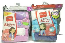 HANES GIRLS TAGLESS 6 LOW RISE BRIEFS; SIZE 10