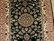 Black Ivory Touch Flowers Area Rug Hand Knotted Wool Silk Carpet (6 x 4)'