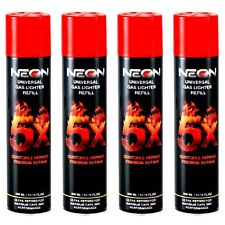 4 Cans Neon Universal Gas Lighter Refill 300 Ml- 5X Refined Premium Butane.