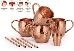 100% Pure Authentic Copper 4 pcs Moscow Mule Mug Cup Beer Wine Cocktails Cup
