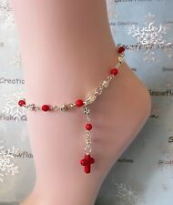 Ankle Chain Bracelet Silver Plate Anklet Red Coral Beads + Cross Charm 26cm A009