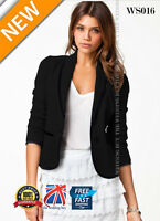 New Womens Ladies Stylish Casual Suit Coat Jacket Blazer Size 2 6 10 14 16 WS016