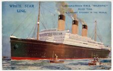 RMS MAJESTIC Paquebot PC Postcard WHITE STAR LINE Largest Steamer World LINER