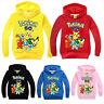 Kids Girls Boys Pokemon Pikachu Hoodie Hooded Sweatshirt Pullover Jumpers Tops