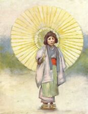JAPAN. Child & Umbrella 1904 old antique vintage print picture