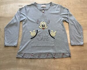 Girls Disney XL Mickey Mouse Sweater Long Sleeve Grey
