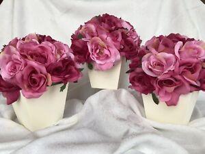 Set of 3 Pink Roses Bouquet in Wooden Box Centerpieces Silk Floral Arrangement