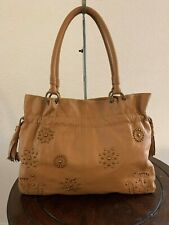 FIORE by Isabella Fiore Brown Leather Large Studded Tote Shoulder Purse Bag