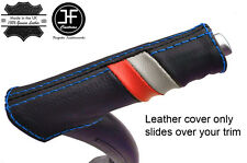 Puntada azul a rayas de cuero manija cubierta de freno de mano deporte encaja AUDI A3 8P 04-12