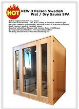 New 2/3 Person Canadian Hemlock Traditional Wet / Dry Steam Sauna Spa Indoor Hot