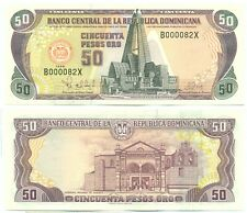 DOMINICAN REPUBLIC NOTE 50 PESOS ORO 1998 LOW NUMBER 000082 P 155 UNC