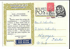 Portugal, 1949 Bilhete Postal Postcard Airmail to USA,  Written in German