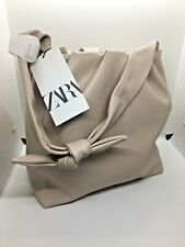 ZARA SOFT TOTE BAG WITH KNOTTED STRAP ecru new WITH TAGS