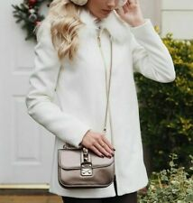 ASOS WHITE Fur Collar Zip Front Flare Blogger Winter Coat Jacket 6 to 16 New