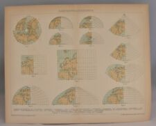 Rare German Map Projections Antique Print | Old Collectable Brockhaus 1893-97