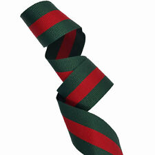 Green Red Striped Ribbon Trim, Double Faced Gross grain Trim 8 yard