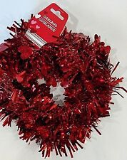 """Red Metallic Tinsel Garland With 1"""" Hearts Garland is 3"""" wide X 9' long NWT"""