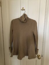 Marks and Spencer Pure cashmere Ribbed camel Roll Neck Swing Jumper size 12