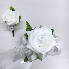 Single White Rose on Metallic Silver  Wrist Corsage & Boutonniere Combo