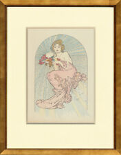 "Rare, Original 1897 ""Radiant Love"" Alphonse Mucha for La Plume, Custom Framing"