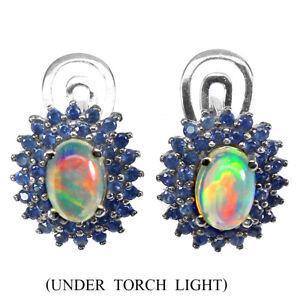 Oval Fire Opal 7x5mm Blue Sapphire Diamond Cut 925 Sterling Silver Earrings
