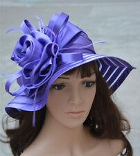 A214 Women Dress Church Wedding Kentucky Derby Satin Feather Floral Sun Hat