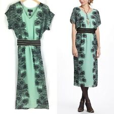 Anthropologie Kimono Dress XS 20s 30s peacock green belted boho romantic midi