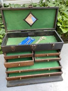 Vtg Antique GERSTNER machinist wood tools chest Jewelry Industrial 7 Drawer