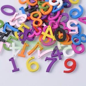 100pcs Random Mixed 20mm Colored Wood Numbers Pendants Beads Wholesale lot