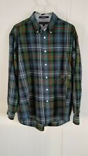 TOMMY HILFIGER LARGE GREEN BLUE PLAID BUTTON UP LONG SLEEVES MEN'S SHIRT