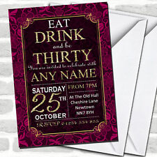 Pink & Gold Flowers 30th Birthday Party Invitations