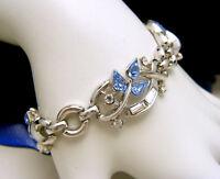 Vintage Crown Trifari Pat Pend Blue Tear Rhinestones Baguettes Bracelet