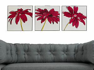 Set of 3 Split Picture Wooden Canvases Home Decor Wall Art Print Sea & Flowers