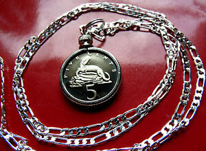"""JAMAICAN Snapping CROCODILE  Proof Pendant on a 22"""" 925 Sterling Silver Chain."""