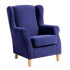 Eleganter Ohrenbackensessel Velours in blau TV Relax Fernsehsessel Ohrensessel