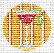 "New Cosmopolitan ""Cosmo"" Drink handpainted Needlepoint Canvas Needle Crossings"