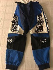 "Fox Racing Youth Sz 10 (26"") Nylon Padded Motorcycle Pants Blue/Black/White TS9"