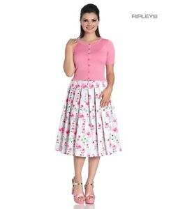 Hell Bunny 50s Skirt Vintage Pastel NATALIE Floral Roses Pink Green All Sizes