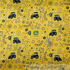 BonEful Fabric Cotton Quilt Yellow Green John Deere Bandana Paisley Flower SCRAP