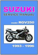 Suzuki rgv 250 / rgv250 workshop manual / repair manua.