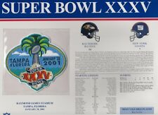 Ravens vs Giants Super Bowl 35 Commemorative Patch Sealed in 9x12 Display