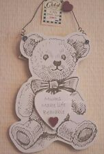 Mum Plaque Murale EMUM rendent la vie plus supportable en Bois Teddy Bear SIGNE 26 cm F1405B