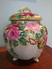 Antique Nippon Biscuit Barrel Cracker Jar Lid Hand Painted Floral Roses Stunning
