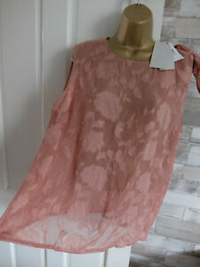 New NEXT ● size 18 ● taupe pink floral see through blouse vest top womens ladies