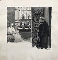 Viggo Jastrau 1857-1946 Acquerello Illustration Interno con Donna e Monaco