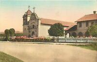 Linen CA Postcard I131 First Mission San Carlos Monterey Hand Colored Serra