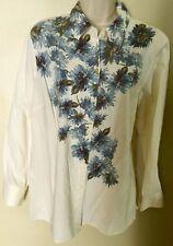 Liz Claiborne Long Sleeve Off White Blue Floral Button Down Shirt    Petite Sz L