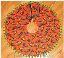 """WITCH HATS & BOOTS, Tree Skirt, Lamp Skirt 25""""dia,Prim,Halloween,Witches"""