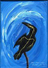 "Realization 5x7"" Ojibwe original art Native Canadian raven blue"