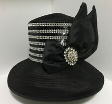 Women's fashion black  hat with bow, brooches & rhinestones, OS, Whittall&Shon.